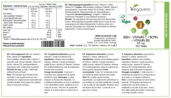 Vegavero Iron + Vitamin C + Biotin + Vitamin B12, 120 tablets ...